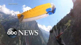 Paraglider survives crash into cliff in the Swiss Alps