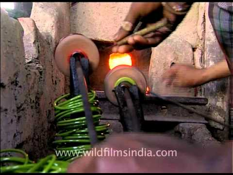 Work Of Precision Traditional Bangle Making In India