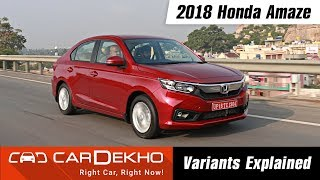 2018 Honda Amaze - Which Variant To Buy? | CarDekho.com