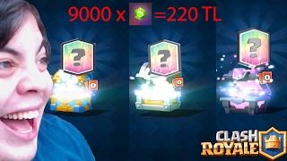 220 tl değerinde Sandık Açılımı (3 Efsanevi Kart) Clash Royale