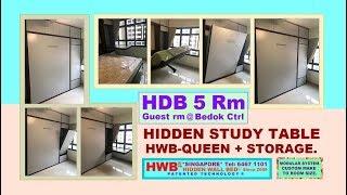 HDB 5 Rm. Hidden Study Table + Hidden Bed HWB-Queen + Top Storage.HWB HUB.HDB.BTO.EC