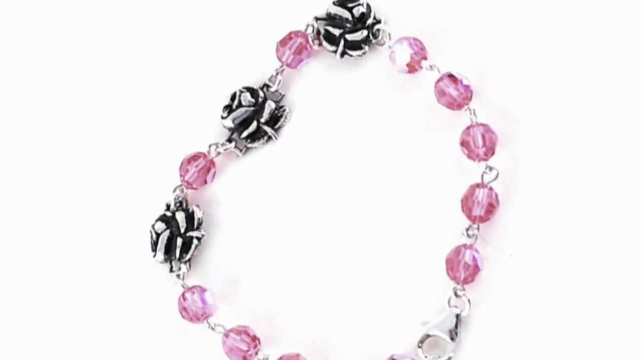 Sterling Silver Pink Swarovski Rosary Bracelet With Roses Youtube