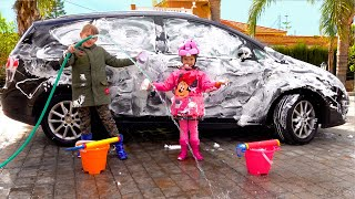 Ksysha Plays with Toys for Car Wash / Pretend Play with brother