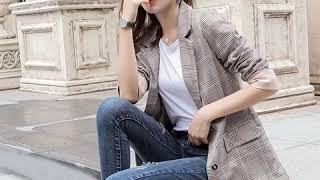kirahosi 격자 무늬 정장 재킷 여성 7부 소매 …