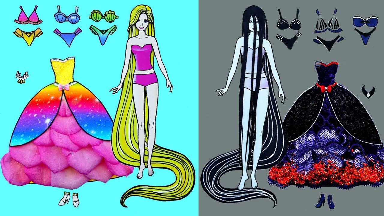 Paper Dolls Beautiful Skirt Dress Up ~ Sadako and Rapunzel Long Hair and Rose Dress ~  Dolls Beauty