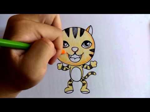 วาดรูป ระบายสี เสือน้อย หัวกลม by วาดการ์ตูน กันเถอะ