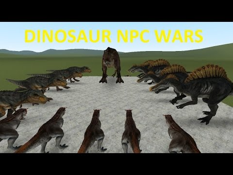 GMOD FIGHTS: DINOSAUR ISLAND NPC WAR