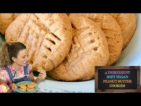 4 Ingredient Soft Vegan Peanut Butter Cookies