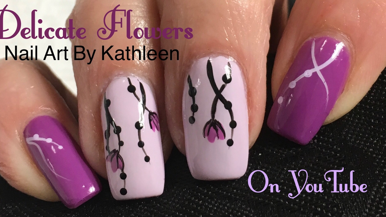Spring Nail Art - Delicate Flowers - YouTube