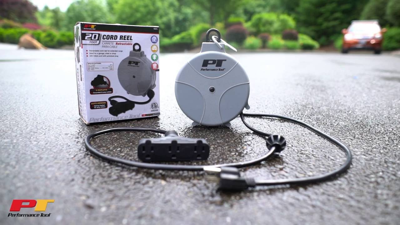 Retractable Power Cord >> Performance Tool W2275 | Retractable Cord Reel with 20' Cord - YouTube