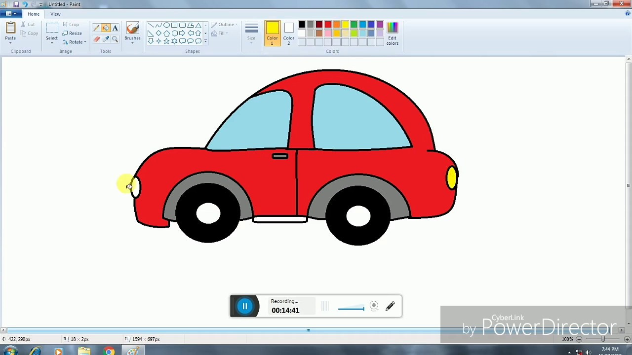 How to Draw Cartoon Car in Ms Paint   step by step Drawing ...