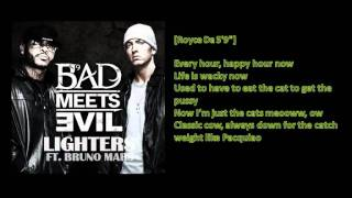 Bad Meet Evil - Lighters (feat. Bruno Mars) [Lyrics Video]