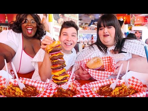 Heart Attack Grill With Hungry Fat Chick • MUKBANG