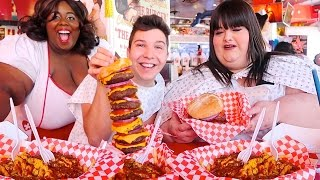 Heart Attack Grill With Hungry Fat Chick  MUKBANG