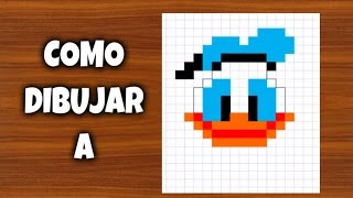 Como dibujar al Pato Donald | Para Minecraft | Pixel Art | How to draw Doanld Duck