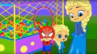 Ball playground Elsa Princess stop motion cartoon for children