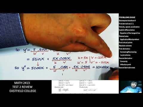 Math 2413 TEST 2 REVIEW Eastfield College