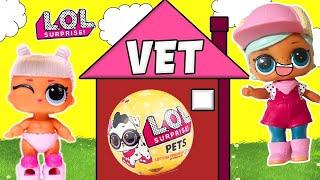 LOL Surprise Dolls go to the Vet! Featuring an LOL Surprise Pets Unboxing!!   LOL Dolls Families