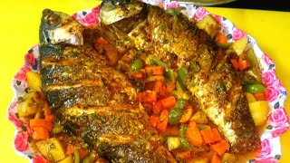 Homemade grilled fish  tasty and spicy fish made in oven