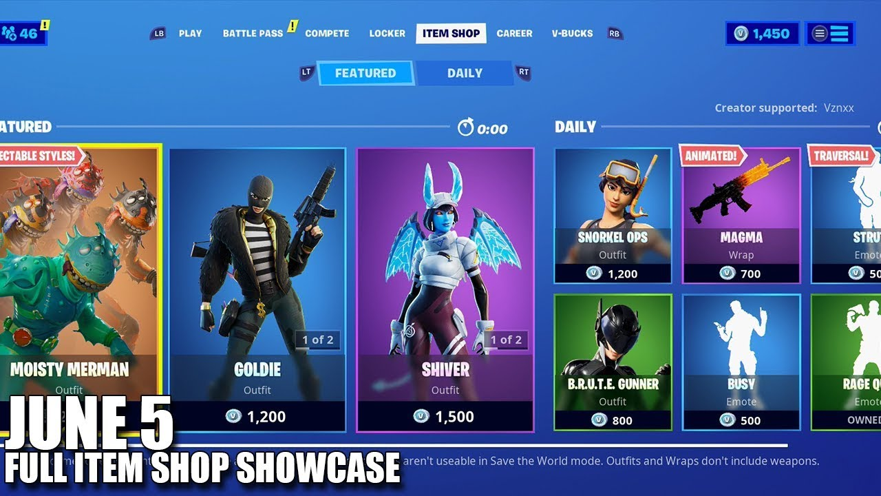 Fortnite Item Shop June 5 2020 Fortnite Battle Royale Youtube We sell exclusive and limited edition fortnite skin, bundle and pack for every platform and console, and at all price ranges. fortnite item shop june 5 2020 fortnite battle royale