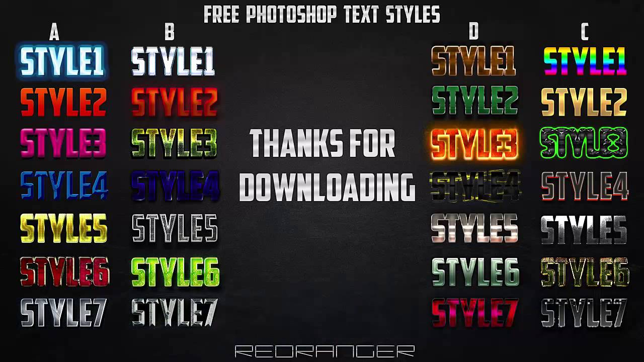 Download FREE Photoshop Text Styles Pack PSD - YouTube
