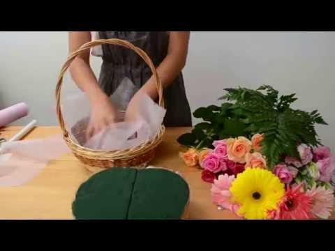 Как сделать букет в корзинке своими руками