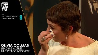 Olivia Colman's Emotional Reaction Backstage to Winning Leading Actress | EE BAFTA Film Awards 2019