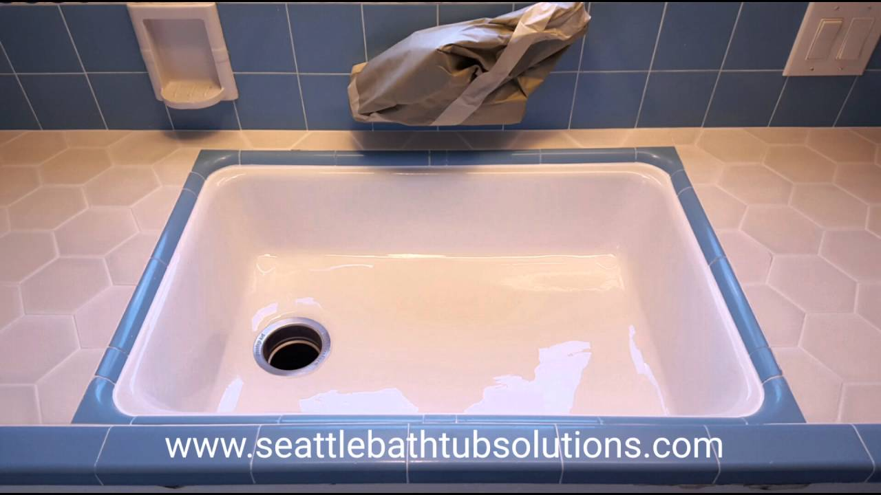 Undermount kitchen sink refinish - YouTube