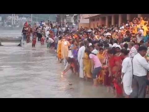 Blonde girl falls in Ganges River in India