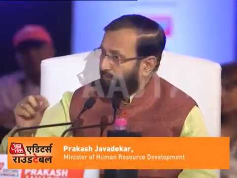 HRD Minister Prakash Javadekar at India Today Editor's Roundtable