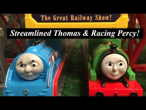 Thomas and Friends Toy Trains-The Great Race Trackmaster  Racing Percy & Streamlined Thomas!