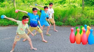 KuMin and Friends Creative Game Blindfold Play Bowling Fun Activities