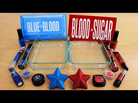 Blue Vs Red - Mixing Makeup Eyeshadow Into Slime! Special Series 108 Satisfying Slime Video