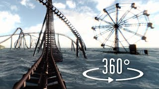 360 Roller Coaster underwater VR: 3D video of a virtual reality water amusement park