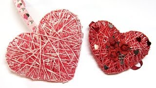 Como hacer corazones 3D de hilo o cordón. Hearts 3D yarn or cord.