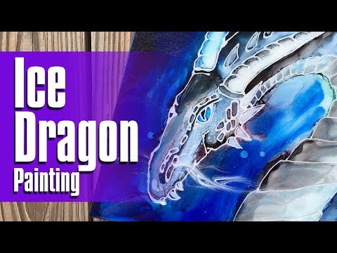 08 | Ice Dragon Resin and Alcohol Ink Painting