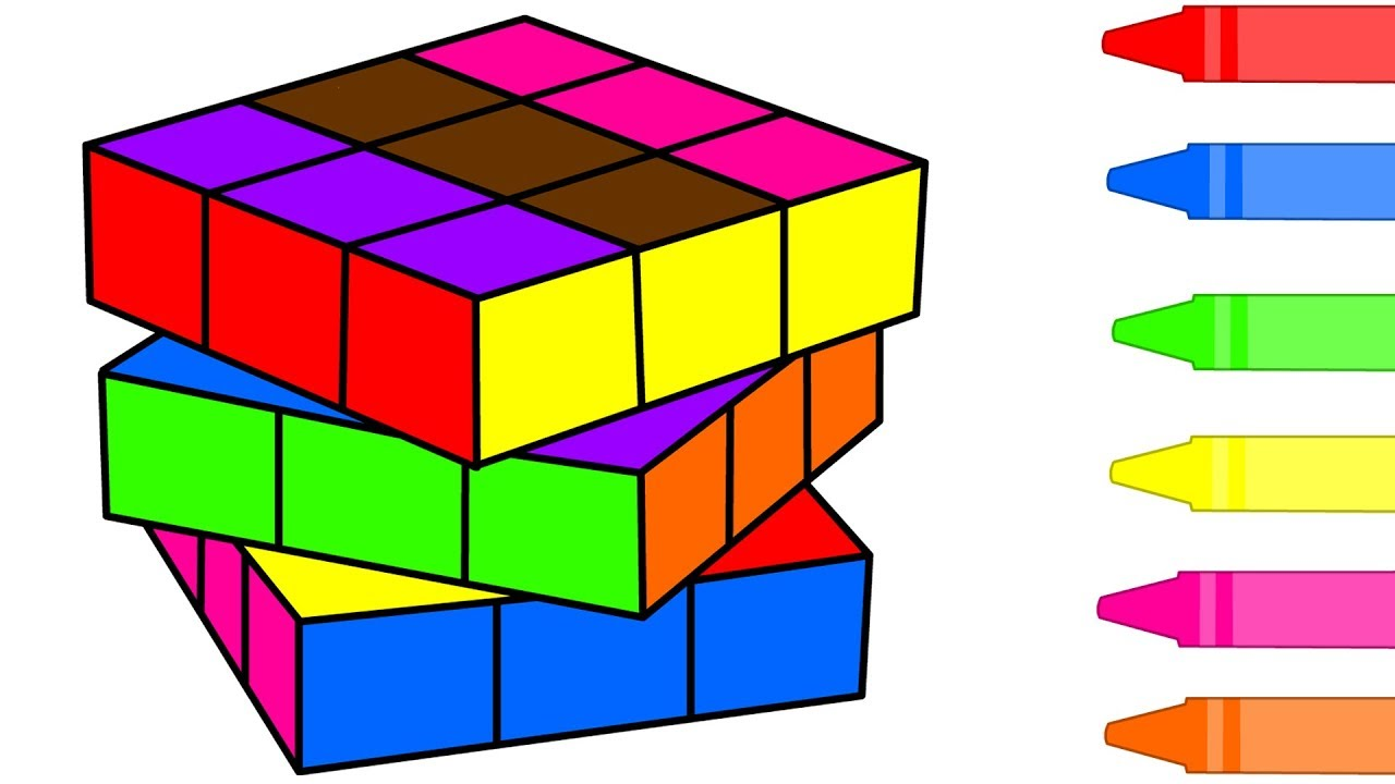 How To Draw Rubiks Cube Coloring pages For Kids Children ...