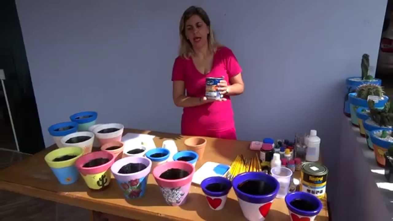 Pintura em vaso de ceramica youtube for Como pintar jarrones de ceramica