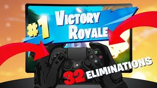 USING PS4 CONTROLLER ON PC FORTNITE! (INSANE 32 KILLS)