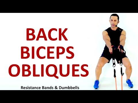 BACK - BI - OBLIQUES: Resistance Bands & Dumbbells