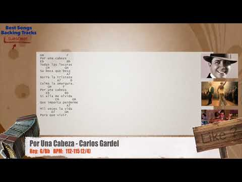 Por Una Cabeza (Tango) - Carlos Gardel Vocal / Melody Backing Track with chords and lyrics