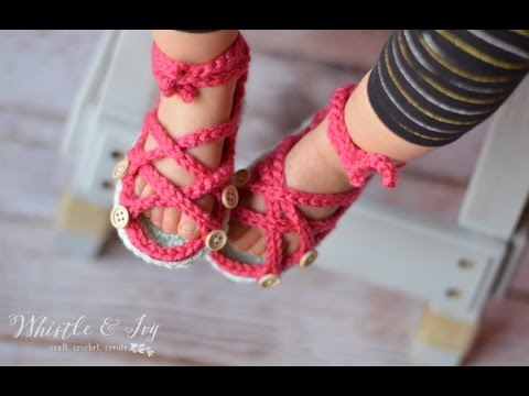 Button Gladiator Sandals Crochet Pattern Youtube