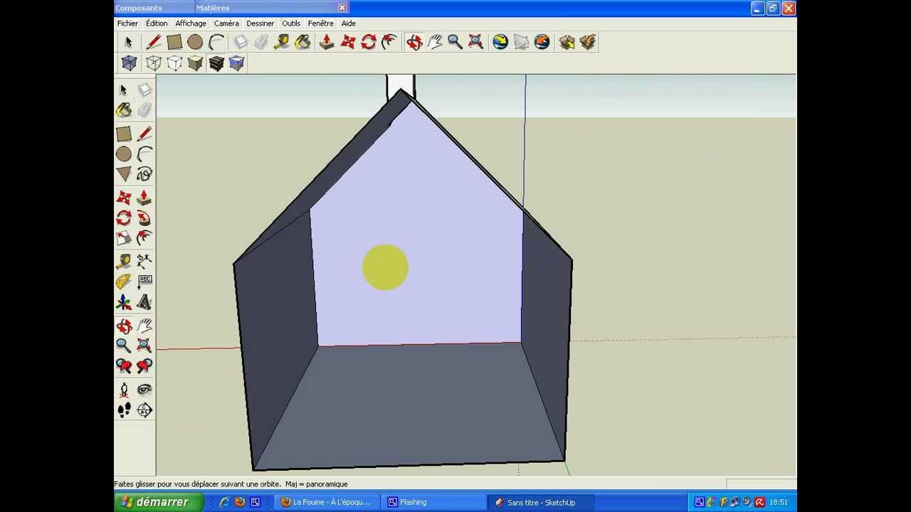 google sketchup comment faire un toit et une chemin e. Black Bedroom Furniture Sets. Home Design Ideas