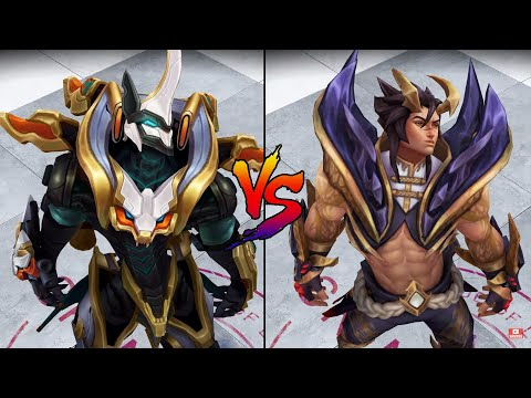 Obsidian Dragon Sett vs Mecha Kingdoms Sett Skin Comparison Spotlight (League of Legends)
