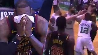 Watch: LeBron James GIVES UP From FATIGUE During Game 5, Marcus Morris & Larry Nance Fight