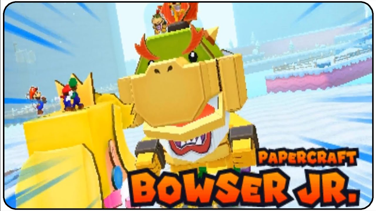 Papercraft Mario & Luigi Paper Jam Walkthrough Part 28 Papercraft Bowser Jr. Boss Battle