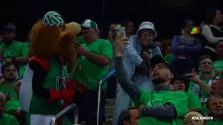 Dancing grandma shows moves during the basketball game at Zalgirio arena thumbnail
