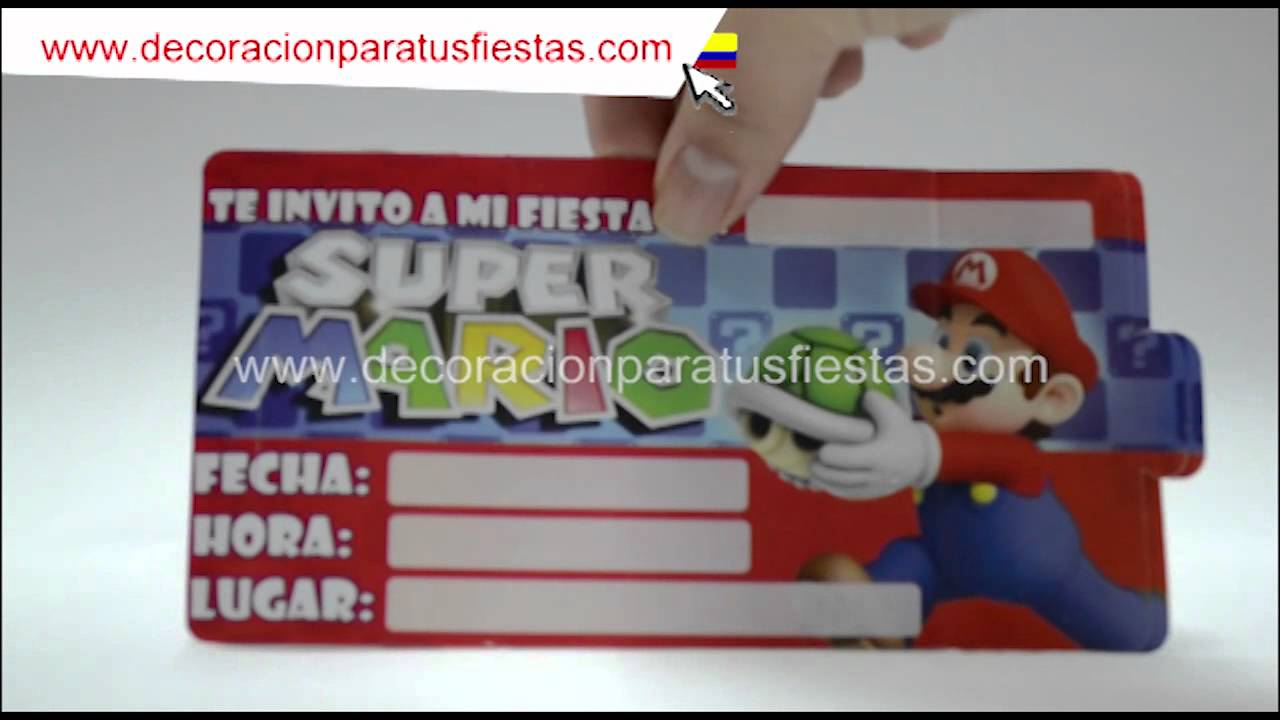Tarjetas De Invitación Para Decoración Infantil De Cumpleaños De Super Mario Bros Luigi Y Yoshi