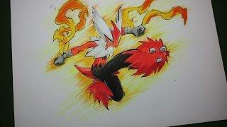 How To Draw Pokemon : Speed Drawing Mega Blaziken (Bashamo).