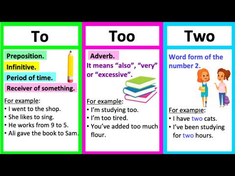 TO vs TOO vs TWO 🤔| What's the difference? | Learn with examples